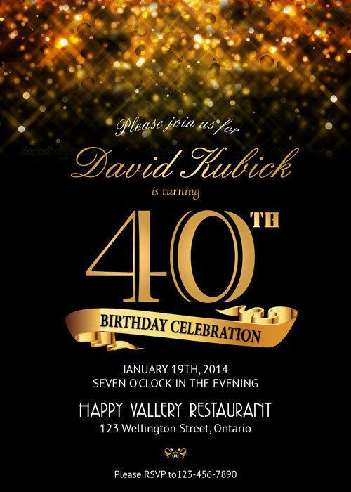 Geburtstag Einladung. Gold Von Arthomer Auf