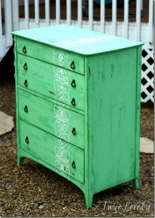 minty green dresser from twice lovely - love the stencil - would be fun to do a boyish type of stencil for E's dresser