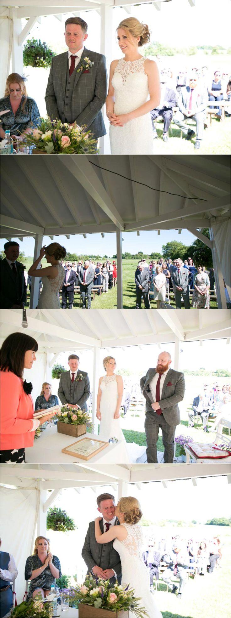 out door ceremony at reid rooms wedding, essex