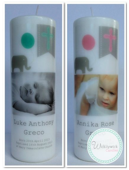 Ellie Photo Personalised Candles by Wickitywick Candles #Baptism Candle #Christening Candle #Naming Day Candle www.wickitywickcandles.com.au