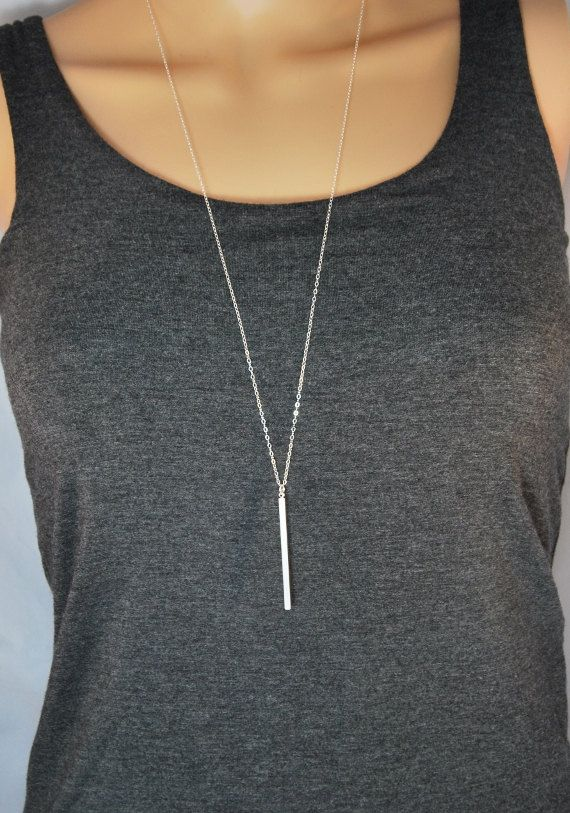Minimal bar necklace | Silver bar necklace, Long necklace, Bar pendant, Dainty chain