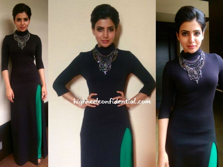 Samantha visited he sets of MAA TV wearing a black floor-length dress and green pants, both from Koëcsh. The separates themselves were pretty striking but what really added that lil' extra zing to the look was the addition of the statement BDBA necklace. She looked fantastic. Samantha at Son Of Satyamurthy Promotions More guilt readingDoing …