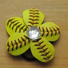Hey, I found this really awesome Etsy listing at https://www.etsy.com/listing/181751147/genuine-softball-ponytail-holder
