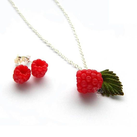 Raspberry charm pendant  fruit charm jewelry  red pendant
