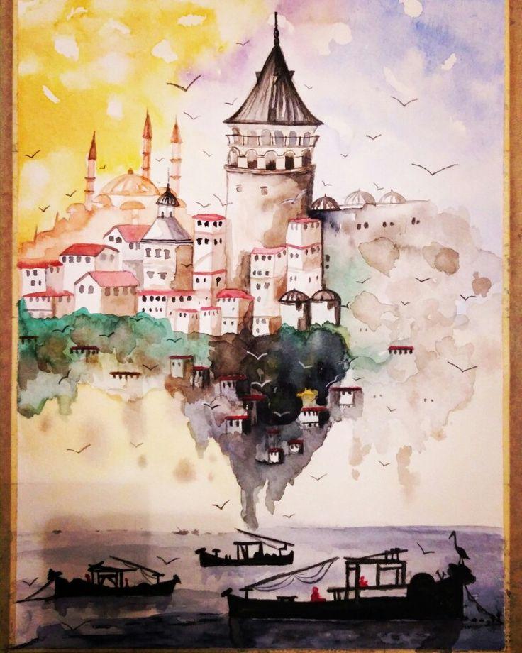 Galata Kulesi#Galata Tower#suluboya #watercolor