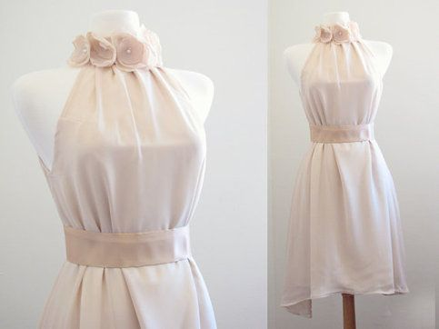 Nude Chiffon Whimsical bridesmaid dresses/mismatched bridesmaid dress//Halter dress/Romance wedding/beach wedding from Cgheaven Bridal