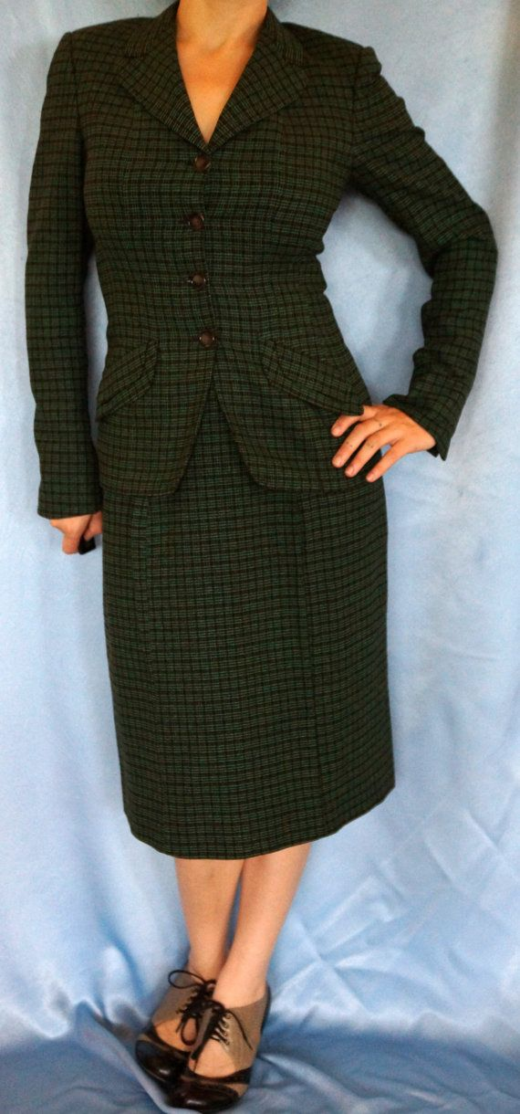 1940s Frederick And Nelson Tweed Dress Suit Suiting Career Wear