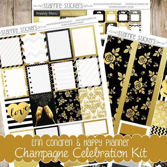 Printable New Years, Party/Celebration, silver, gold and black planner stickers for personal use. This set includes 3 pages worth of Silhouette Studio Cut files, PDF files and JPEG files for both Erin Condren Life Planner and Happy Planner.
