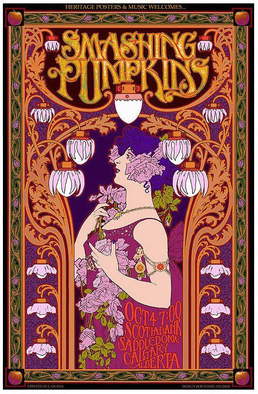 Smashing Pumpkins art nouveau concert poster