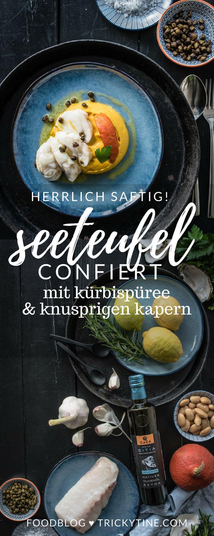 confierter seeteufel mit kürbis-bohnen-püree und knusprigen kapern ♥ trickytine.com