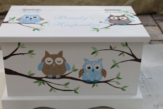 Owl Baby Keepsake Chest Box personalized by staciedale on Etsy, $255.00