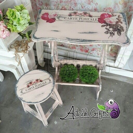 One set.. decoupage telephone table and stool #decoupage
