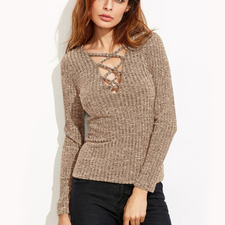 Women Top Knitted Lace Up Bandage Sexy V -Neck Long Sleeve Autumn Blouse Tee #LFS #KnitTop #Casual