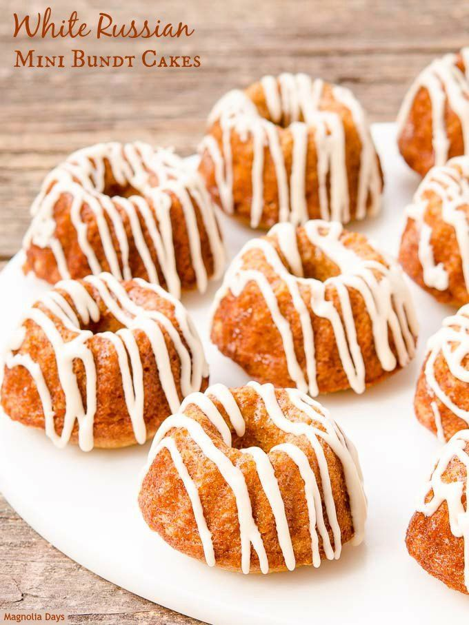 White Russian Mini Bundt Cakes have the cocktail's classic flavors of Kahlúa, vodka, and cream. They are marvelous for cocktail parties and holiday entertaining.