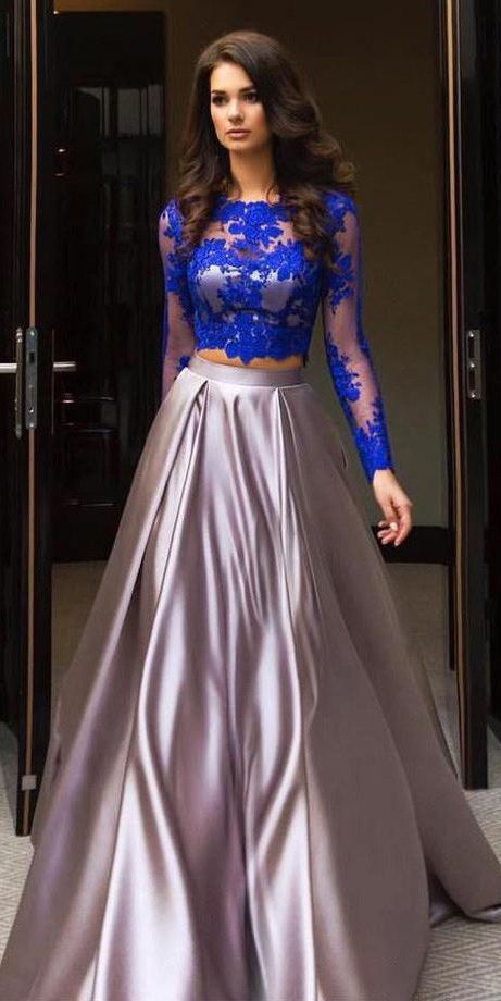 A Line Royal Blue Two Piece Long Sleeve Lace Top Prom Dresses