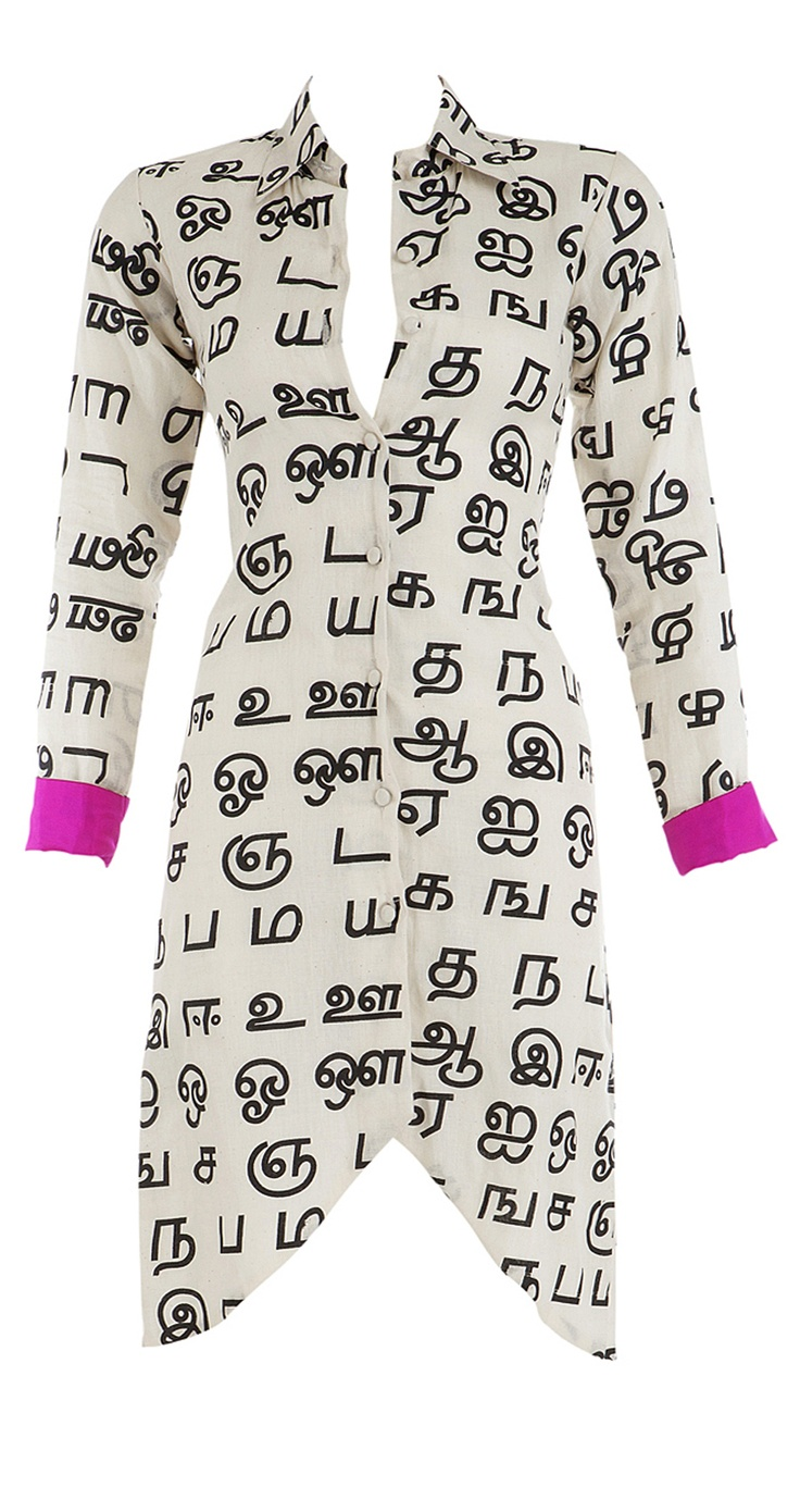 MASABA  Cotton long shirt with tamil print in black and white