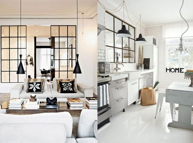 20 inspirations pour une cloison verri re cuisine et. Black Bedroom Furniture Sets. Home Design Ideas