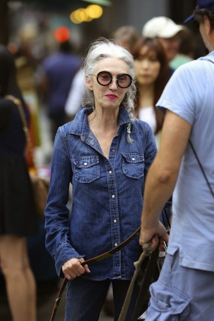 Linda Rodin goes denim on denim.  That's Not My Age: The J. Crew denim shirt