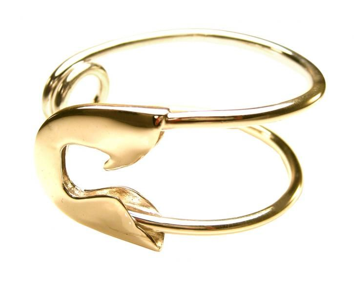 large gold safety pin cuff, tom binns