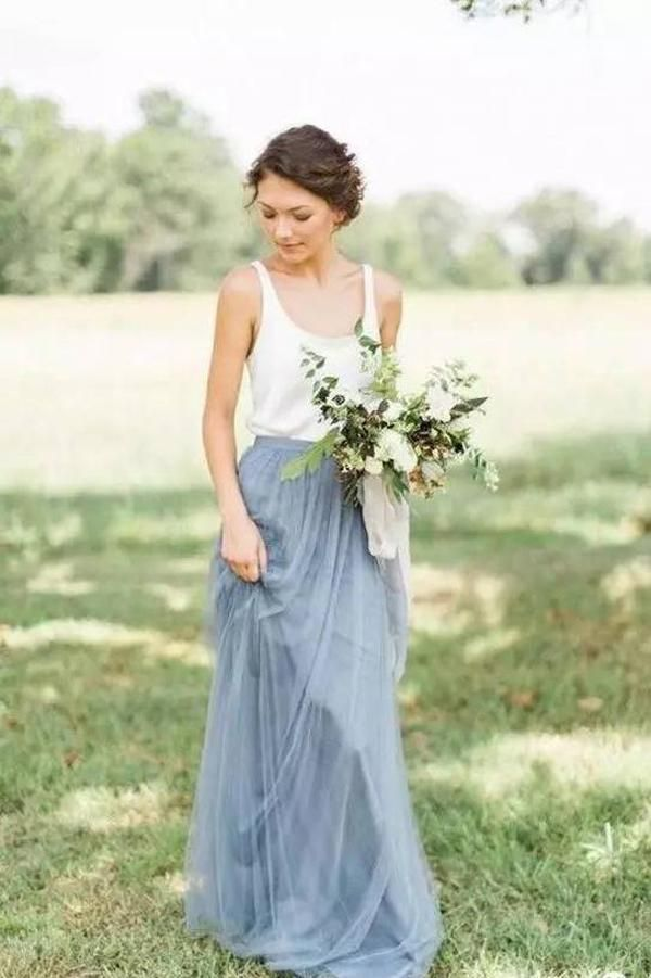 A Line Sweep Train Square Sleeveless Layers Tulle Cheap Bridesmaid Dress B211