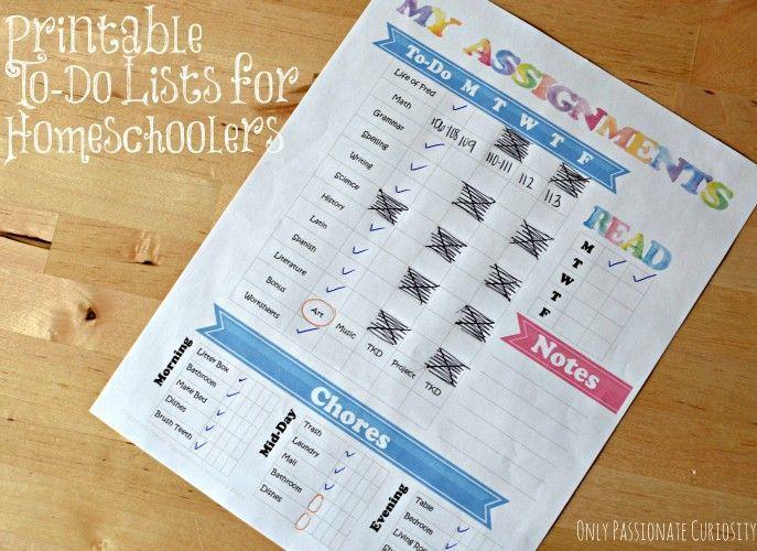Printable to-do lists for homeschool kiddos!