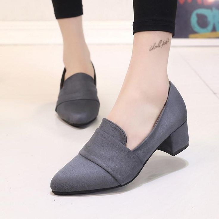 Career Pumps Fashion square heel pointed Toe high-heel shoes office women  Flock Signal Shoes