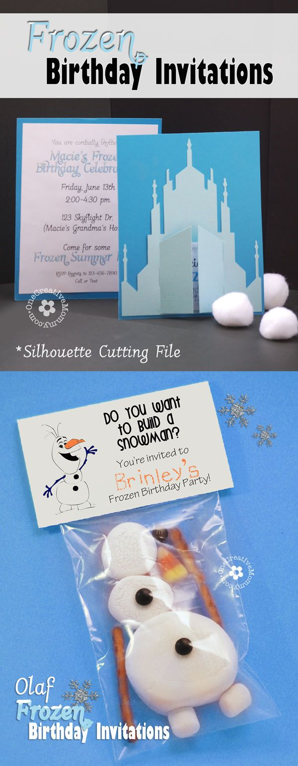 "2 Unique Frozen Birthday Invitations! Create a Castle Invitation with Silhouette cutting file or printable download, or make a treat topper invitation with an ""Olaf -- Do You Want to Build a Snowman?"" printable!  {Ideas from OneCreativeMommy.com}"