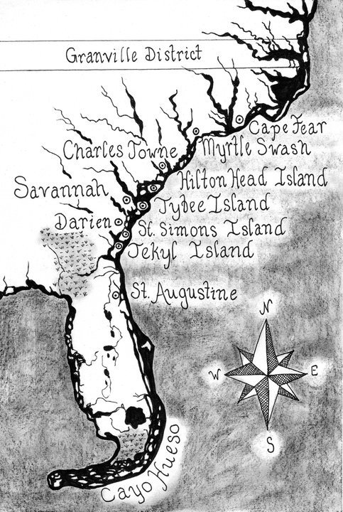 Pirates of Savannah - Low Country 1737 map.  #lowcountry #gullah #coastline #map #colonial #historicalmap