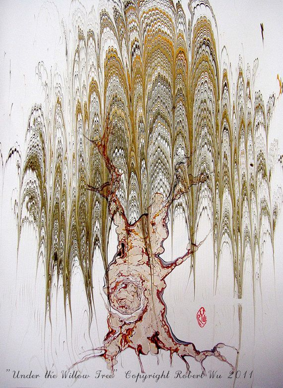 Willow Tree  Original Marbling Art Hand Marbled by StudioRobertWu, $54.00. He does amazing work!