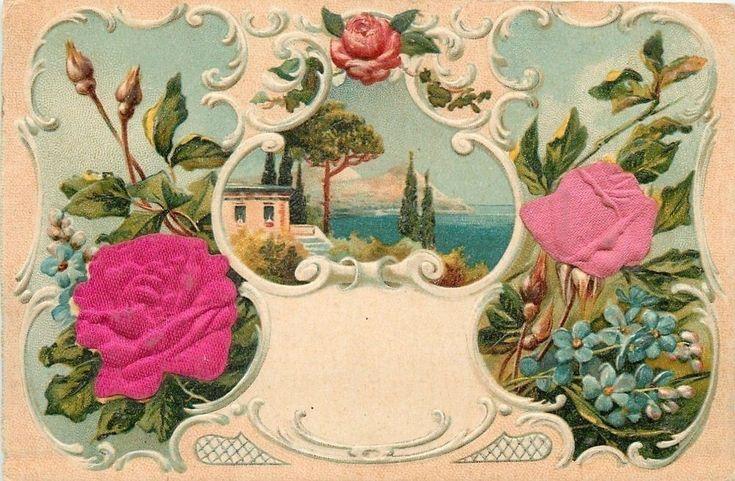 Red Pink Silk Roses~Forget-Me-Nots~Mount Villa~Ocean~White Art Novueau~Austria  | eBay