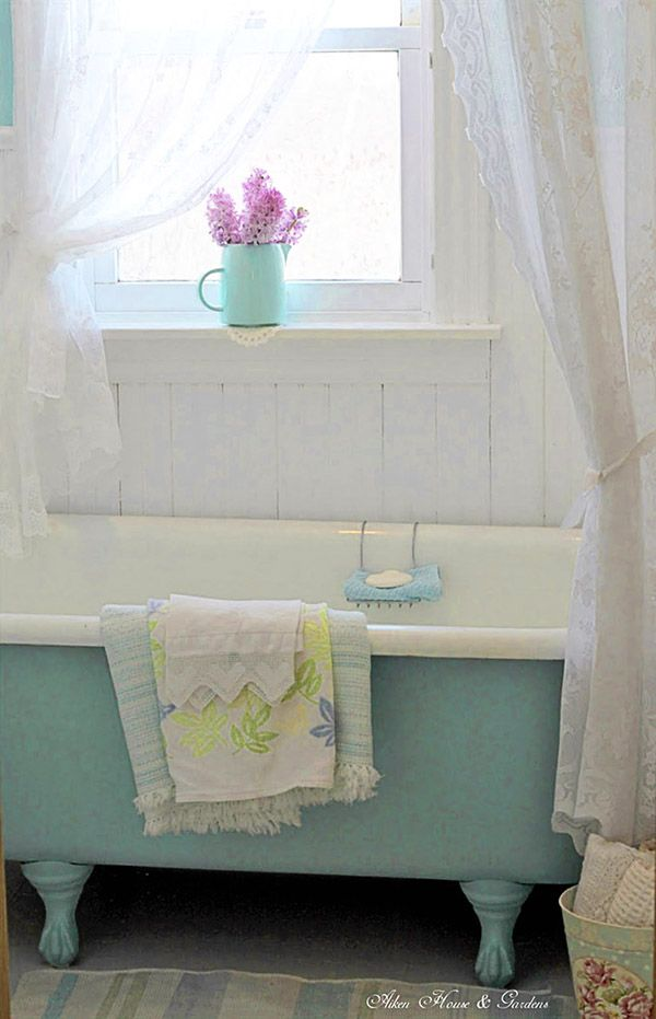 I need a turquoise claw foot bath tub in my life! Cottage chic and delightful. How perfect are those lace curtains?  http://www.hearthandmade.co.uk/flower-arrangements/?utm_campaign=coschedule&utm_source=pinterest&utm_medium=Heart%20Handmade%20UK&utm_content=Glorious%20Chic%20Cottage%20Decor%20From%20Aiken%20House%20and%20Gardens