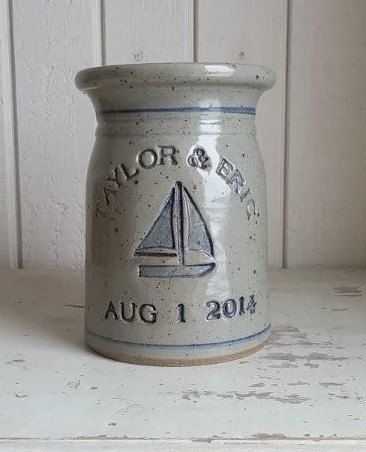 Personalized Stoneware Utensil Crock makes a great housewarming/birthday gift. This is our most popular shape. Each piece is completely hand