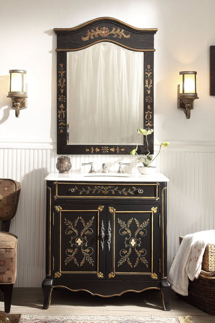 77 best vanities images on pinterest create your own every girl 32 hand painted floral design decoroso bathroom sink vanity with mirror hf2326 mir geotapseo Choice Image