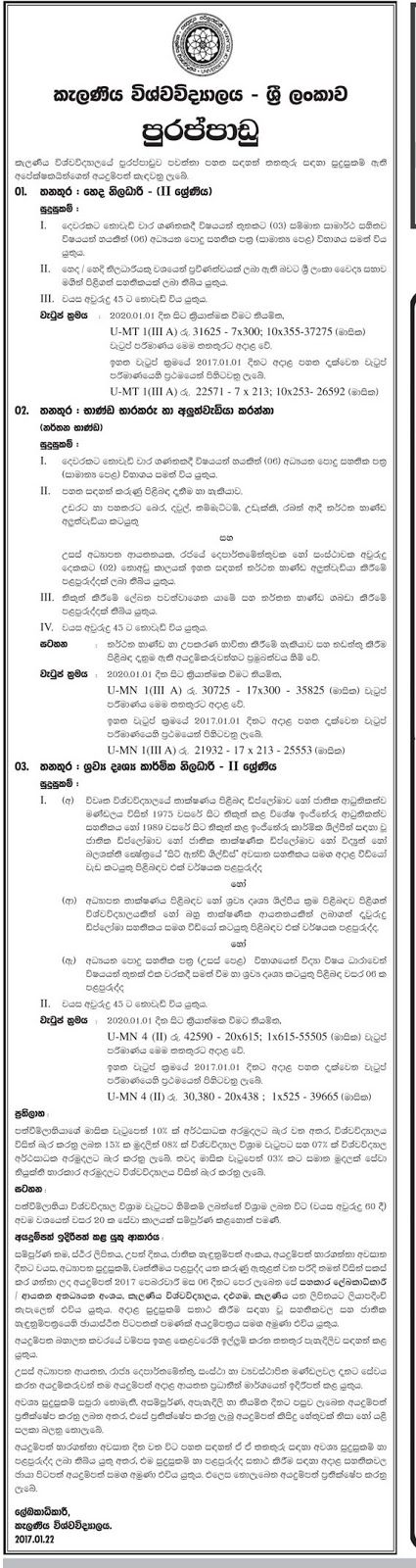 Sri Lankan Government Job Vacancies at University of Kelaniya for Nursing Officer, Items Trustee and Repairer, Audio Visual Technical Officer