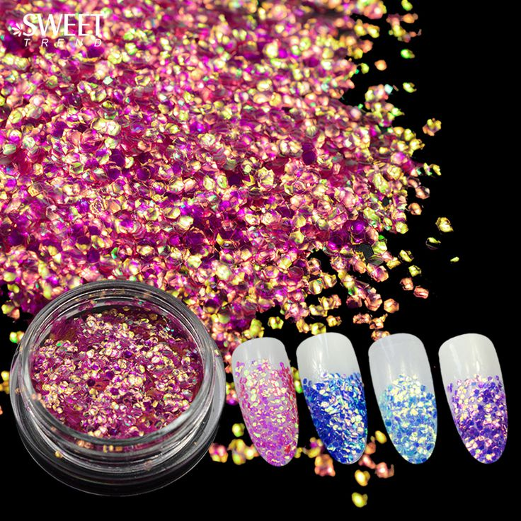 Buy SWEET TREND 1 Bottle New Nail Mermaid Sequins Stickers Sparkly 3D Colorful Glitter Tip Chameleon Nail Art Decoration Tools ND297 at JacLauren.com