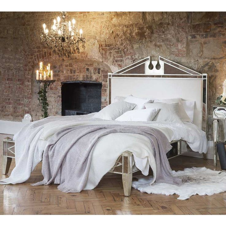 antique venetian mirrored bed king size - Mirrored Bed Frame