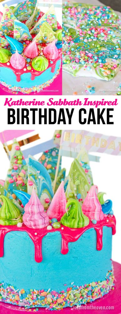 A whimsical, colorful, birthday cake inspired by Katherine Sabbath.  So much fun, and when you see how it's broken down, it's a lot less complicated than you probably think!