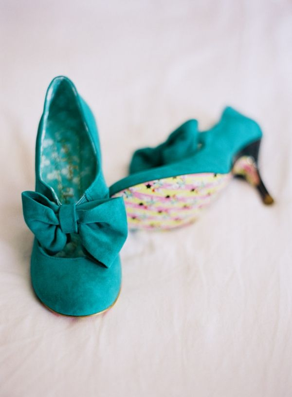 teal suede wedding shoes // photo by JoshGruetzmacher.com