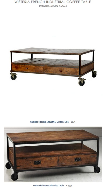 Wisteria French Industrial Coffee Table Vs Industrial Mansard Coffee Table Copy Cat Chic