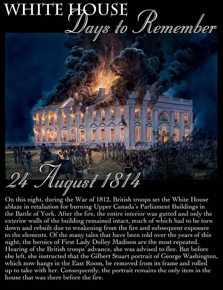 The burning of the White House by the British, on August 24, 1814.