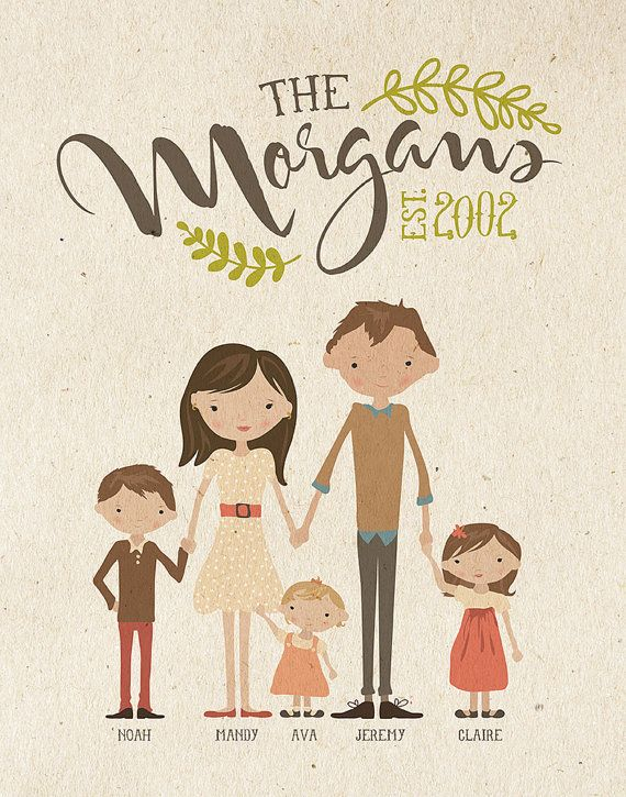 Custom Illustrated Family Portrait by InkLaneDesign on Etsy