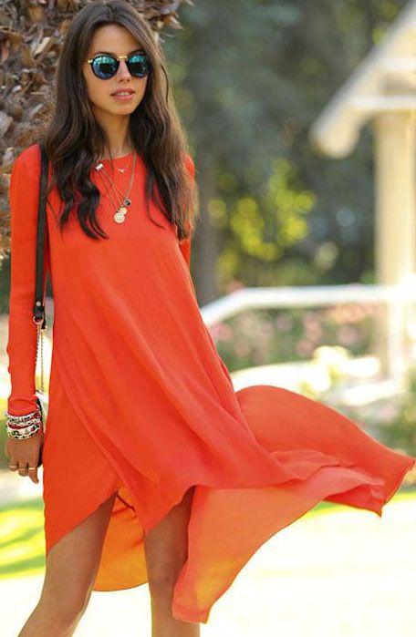 Orange Long Sleeve Asymmetrical Chiffon Dress - Fashion Clothing, Latest Street Fashion At Abaday.com