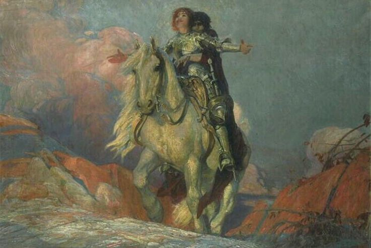 Le chevalier et la destinée / The Knight and the Destiny. La mort montée en croupe. Oil on Canvas. 111 x 158 cm. (43.70 x 62.20 in.) Musée des Beaux-Arts, Bordeaux, France.  Art by William Julien Émile Édouard Laparra.(1873-1920).