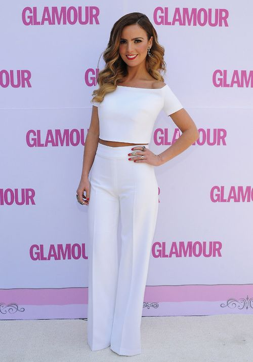 White : crop top and dress pants