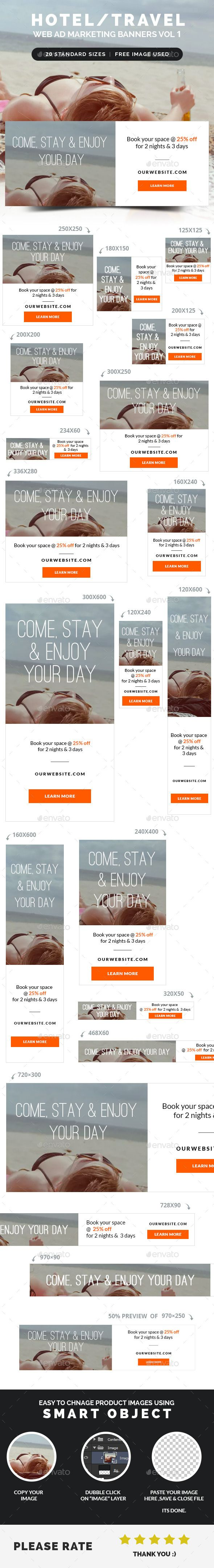 Hotel / Travel Web Ad Marketing Banners Template PSD | Buy and Download: http://graphicriver.net/item/hotel-travel-web-ad-marketing-banners-vol-1/8952771?WT.ac=category_thumb&WT.z_author=webduck&ref=ksioks