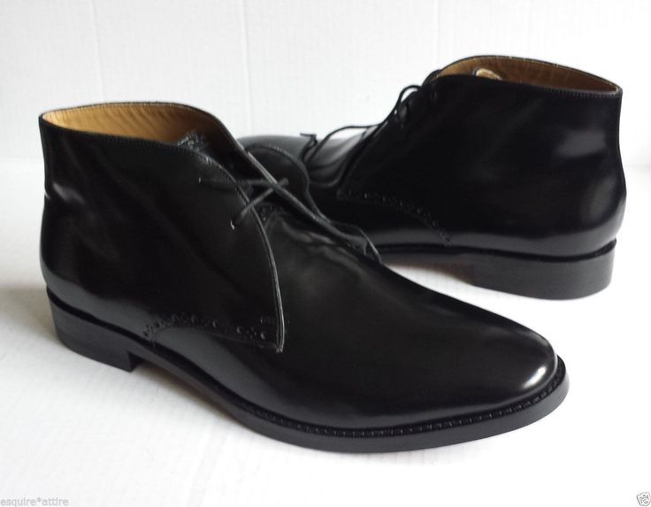 COLE HAAN men size 10.5 Cambridge Chukka Black Shiny #leather Ankle boots NIB ColeHaan visit our ebay store at  http://stores.ebay.com/esquirestore
