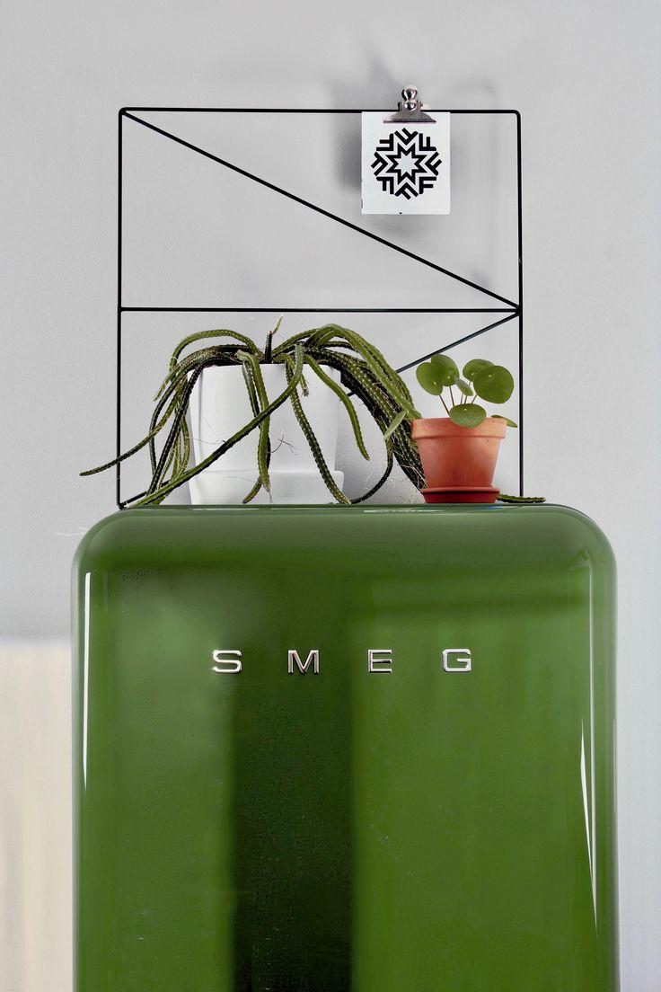 Green kitchen in Stockholm, Sweden  (Södermalm)   Green SMEG refrigerator   Wallment Arrow Grid   Medusa cactus   Elefantöra Pilea Plant   Designtorget kruka