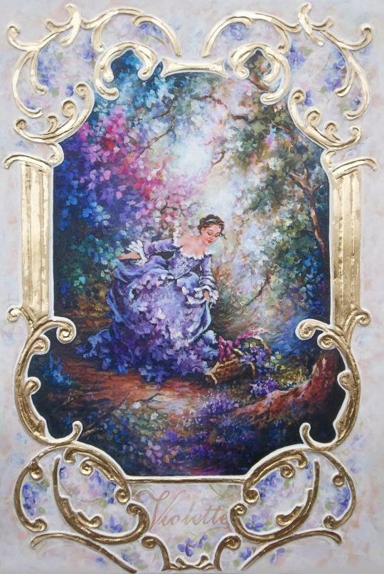 """Royal Rococo Boiserie Panel Hand-sculpted Painting. """"Sweet Violet""""."""
