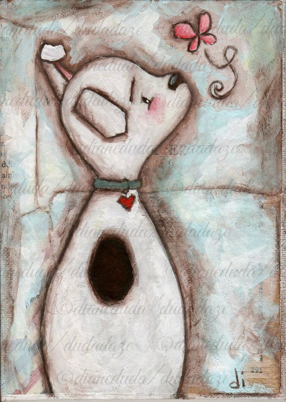 Original Mixed Media Painting by Diane Duda  One Curious Dog  ©dianeduda/dudadaze