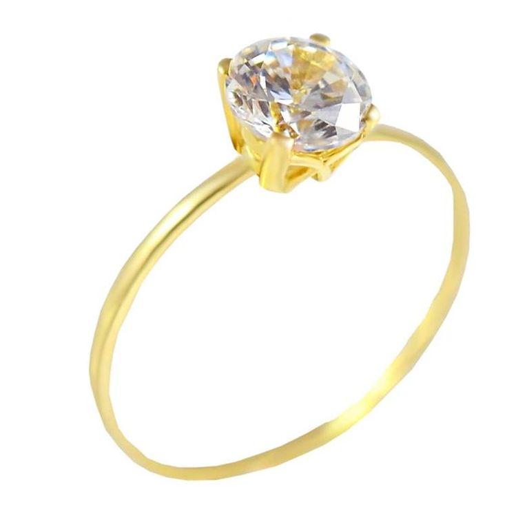 Μ161Ζ- Χρυσό μονόπετρο δαχτυλίδι